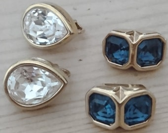 Two pairs of vintage swarovski S.A.L. Clip on earrings