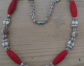Vintage Chinese ceramic bead necklace