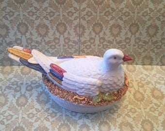 Free Shipping Freeman Pottery Ceramic Secla Portugal White Dove Pigeon Covered Oval Casserole Soup Tureen