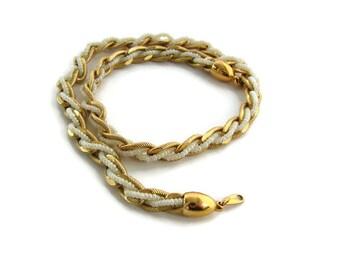 Gold chain choker Gold bead choker Short necklace Gold short necklace Trifari beaded choker Necklace for her Summer gold choker Gift for her