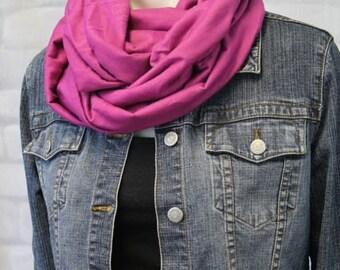 Travel Scarf - Boho Scarf - Fabric Scarf - Pink Infinity Scarf - Magenta Circle Scarf - Dark Pink Loop Scarf - Fuchsia Scarf - Solid Scarf