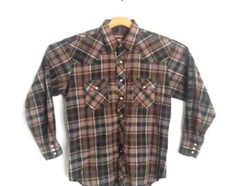 Vintage Wrangler Western Plaid Shirt Men's Large