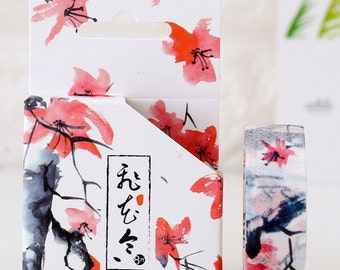 15mmX8M Ink Painting Design Red plum flower Washi tape Masking Adhesive Tape