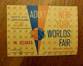 Vintage Ticket 1964 New York Worlds Fair