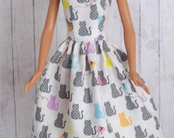 Barbie clothing, handmade dress, cat dress, fashion doll clothes, doll dress, cats and butterflies, modest Barbie, animal dress, girls gift