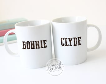 Bonnie and Clyde Coffee Mug Cup Set - His and Hers - Funny Gift - Couple - Wedding - Anniversary - Engagement - Famous Couple - Love Couples