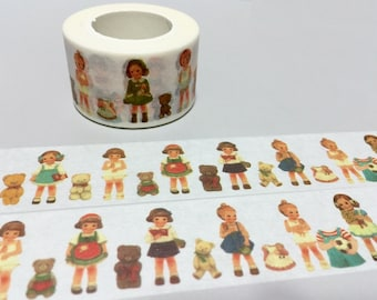classic doll Paper doll mate washi tape 10M Vintage doll sweet girls sticker tape kawaii girl diary tape retro girl dollmate scrapbook gift
