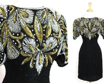 Vintage Sequined Party Dress XL
