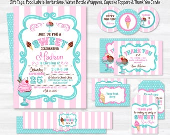 Ice Cream Party Invitations - Ice Cream Party Supplies - Ice Cream Party Ideas - Ice Cream Party Favors - Instant Download - Edit NOW!