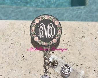Retractable Badge Holder, Floral Chalkboard Personalized Badge Reel, Monogram Badge Reel, Nurse Badge Reel, Badge Holder, MB301