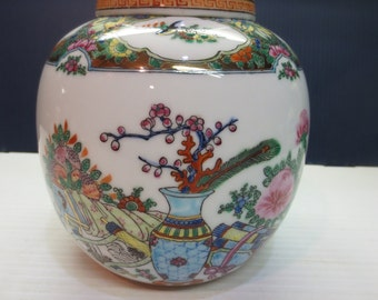 White Ginger Jar Urn With Colorful Hand Painted Scenes