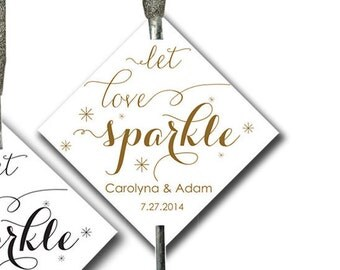 Sparkler Tags Printable Carolyna - 2x2 inch, wedding sparklers card, sparkler send off, sparkler sign, diy CUSTOMIZED