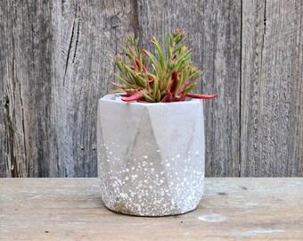 White Speckled Geometric Concrete Planter