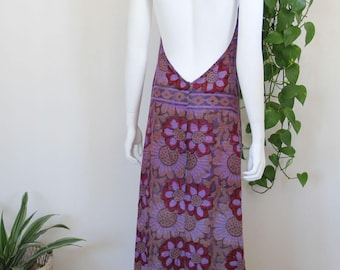 1970's Bohemian Indian Gauze Backless Maxi Dress Floral Boho Gypsy Hippie
