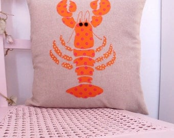 Cushion cover, Lobster applique, pillow cover, lobster, applique cushion