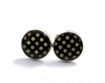 BLACK POLKA DOT Stud Earrings - black Studs - Polka Dot Studs - minimalist jewelry - Black White Polka Dot Studs - 12mm - danslairdutemps