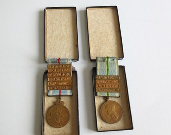 2 antique Greek medals WW1 Balkan war 1912-1913 in original boxes