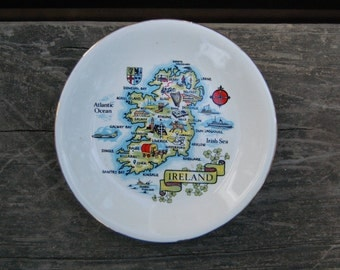 Carrigcraft Carrigaline County Cork Ireland Map Trinket Dish - Vintage Ireland Pin Dish Trinket Dish - Vintage Irish Souvenir Map of Ireland