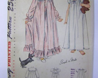 Vintage 1940s Simplicity 2250 Girls' Peignoir, NIGHTGOWN & Robe pattern size 8 UNCUT