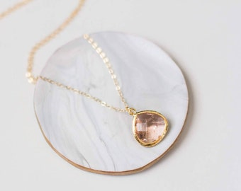 Gold Layering Necklace-Minimal Gold Necklace-Delicate Gold Necklace-Pink Gemstone Necklace-Matte Gold Necklace-Gold Layering Pink Necklace