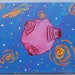 Original Handpainted Outer Space Planet with Stars and Comet, Acrylic Painting, Whimsical, Red, Blue, Pink, Yellow, White, 8x10, OOAK