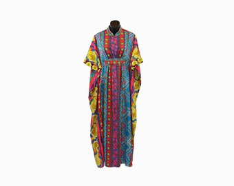 1960s Miss Elaine Vintage / Multicolored Caftan / Floral Print Maxi Dress / Vertical Stripes / Psychedelic Swimsuit Cover / Loungewear /