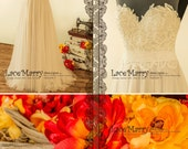 A Line Beach Wedding Dress with Sheer Neckline with Grey Gold Underlay | Boho Wedding Dress, A Line Wedding Dress, Summer Wedding Dress