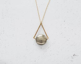 Pyrite & Brass Tube Dangle Triangle Necklace