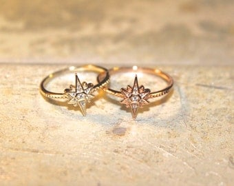THREE FINISHES Rose Gold Vermeil Starburst Rings with Zircon