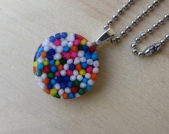 Real Candy Necklace, Rainbow Hundreds Thousands Sprinkles Pendant Necklace, Kawaii Food Jewelry, Stainless Steel Ball Chain, Rainbow Gift