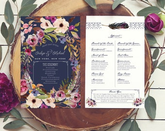 Boho Navy Programs - Floral Wedding Programs - Catholic Wedding Program for a Garden Wedding - Wreath Programs - Printable or Printed