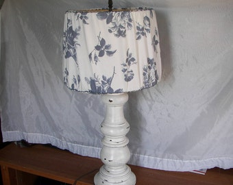 Vintage Baluster Lamp, Shabby Cottage Table Lamp, Shabby Chic Lamp,  Farmhouse Lamp,