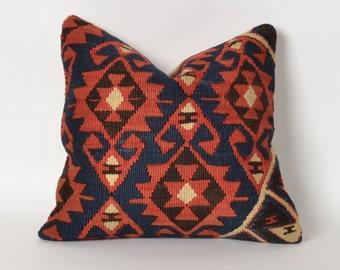 kilim pillow, kilim, vintage pillow, home decor, red pillow, throw pillow, decorative pillow, pillow cover, red kilim pillow, kilim pillows