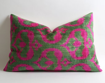 Pink Velvet Ikat Pillow Cover - Neon Pink Green Modern Soft Decorative Velvet Ikat Pillow For Couch - Neon Pink Pillow Pink Green Pillow