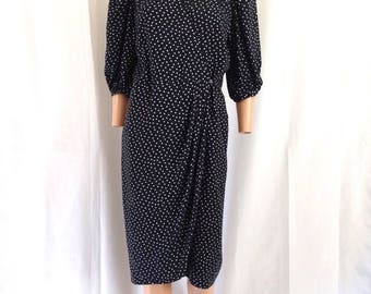 ON HOLD/ 1980's Guy Laroche Polka Dot Wrap Dress Sz 38 Made in France