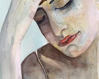 Pensive woman, Watercolor Portrait, 8x10 Giclee PRINT, Wall Art