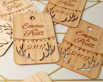 Wedding favor tags, wooden veneer Thank you tags, rustic deer antlers favor tags, gift tags, wedding tags, engraved favor tags, set of 25 pc
