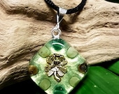 ABUNDANCE Orgone Pendant – Jade, Tiger's Eye and Aventurine Crystal Healing Pendant to Attract Wealth, Money and Prosperity - Small