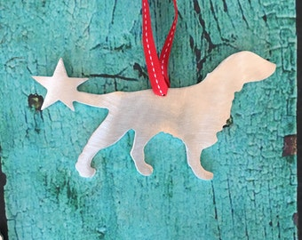 Flat Coated Retriever, Holiday Ornament, Christmas Ornament, Handcrafted, dog lover gift, stocking stuffer, dog bauble, pet, silver, metal
