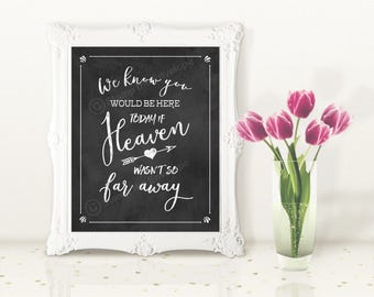 If Heaven Wasn't so Far Away, Chalkboard Wedding Printable Sign, Wedding Decoration, Digital Download Wedding Sign, Printable Wedding Sign