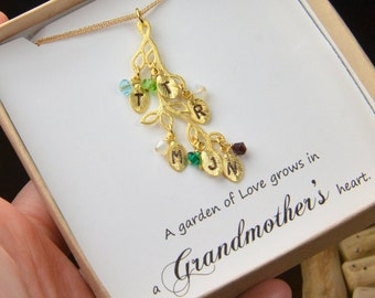 Personalized jewelry ,Grandmother Necklace,2 3 4 5 6 7 8 Birthstone Necklace, Family Tree, Grandmother Jewelry, Mom Children,Grandma gifts ,