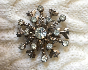 Vintage Metal and Rhinestone Snowflake Pin, 1950's Snowflake Brooch