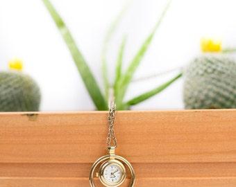 Vintage Gold Watch Necklace // Timepiece // Embassy Quartz // Base Metal Bezel // Japan