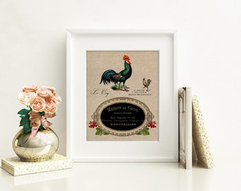 French Linen Label Rooster III - Art Print, Farmhouse Rooster Art, Rooster Kitchen Decor, Modern Farmhouse Kitchen, Farmhouse Chic Style