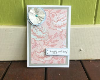 Happy Birthday Card, Flower Card, Floral Birthday Card, Sale, Birthday Card for Her, Pink Birthday Card, Pretty Paper Card, Kraft Envelope