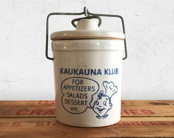 1930s Cheese Crock Kaukauna Klub with Wire Bail / Rustic Country Farmhouse Kitchen Decor Stoneware Pottery / Wisconsin Cheese
