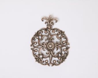 Ornate Art Nouveau 835 silver pendant / Art Nouveau pendant / Art Nouveau silver pendant / ornate pendant /Art nouveau medallion pendant 924