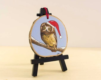 Owl Christmas Ornament Hand Painted on Wood