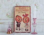 Dollhouse Miniature Happy Halloween Sign Pumpkin Plaque Scary Decor Vintage Design Spooky Picture Shabby Cottage Chic 112th Scale