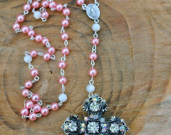 Super Glamorous Rosary Brooch Combo